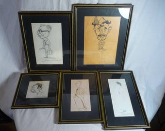 Set Wall Art Black Gilt Frames Vintage Signed Drawings Caricatures Colston Orchard,W Hutchings,WWII,Cartoon,Army,Soldier,Home Decor,Military