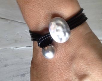 Leather multi stripes silver bracelet,womens minimalist leather bracelet,womens wrap leather cuff,girlfriend gift,antique Brass Ball Clasp