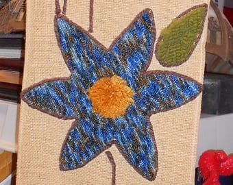 Awesome retro 60's-70's wall hanging burlap and carpet Flower Power