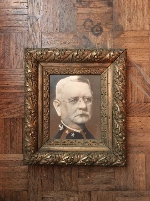 Antique Gold Framed WWI General Print, Antique Frame Military Photo, WWI Major General