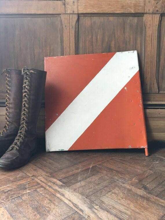 Vintage Metal Scuba Dive Flag Sign, Diver Down Scuba Diving Flag, Scuba Diver Gift, Industrial Nautical Wall Decor