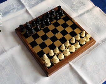 Magnetic Chess Set Cavalier In Original Box Folding Chess