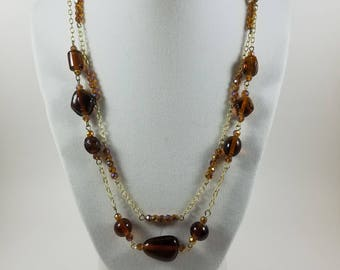 Downtown brown multi-strand necklace