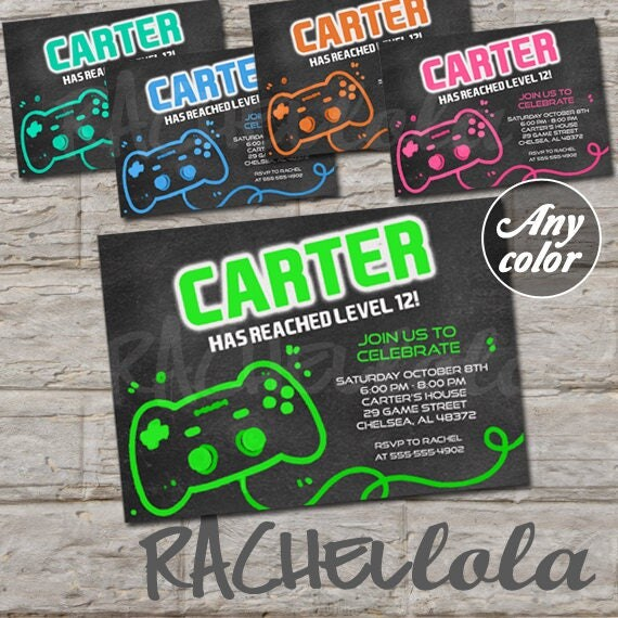 Video Game chalkboard birthday party invitation boy girl teen
