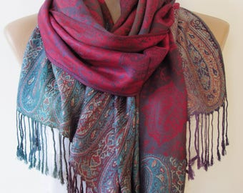 Blue Fuchsia Pashmina Scarf Oversize Scarf Fall Winter Scarf Large Scarf Women Fashion Accessories Holiday Christmas Gift Ideas For Her