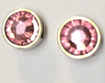 2 5mm flat silver sliders, Light Rose Pink Genuine Swarovski Crystal Sliders for 5mm flat Leather, 6mm flat leather
