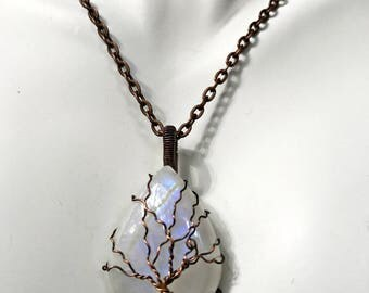 Moonstone Tree of Life Wire Wrapped Pendant Antiqued Copper Wire Wrapped Creamy White Colored Cabochon with Chain
