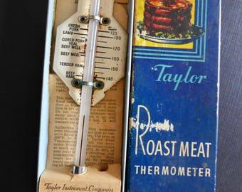 Vintage Taylor Roast Meat Thermometer/ 1950's Original Box/ Vintage kitchen