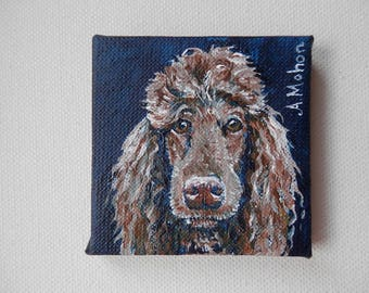 """Original painting, """"You will give me a biscuit"""" miniature painting of a standard poodle."""