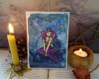 Mini Fairy Print, Faerie Print, Laminated Print, Faerie Art, Watercolour Faerie, Gothic, Punk, Purple Fairy, Hippy Fairy, Roxy Purpletoes!