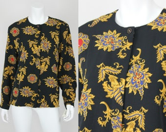 NWT Vintage Baroque Blouse Deadstock Size 12 Long Sleeve Black Gold Scarf Print