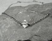 Herkimer Diamond Choker Necklace, Herkimer Diamond Jewelry, Dainty Chain Necklace, April Birthstone, Yoga Gift, Sterling Silver Necklace