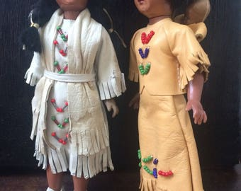 Collectible Vintage Carlson Native American Indian Souvenier Dolls in Leather Costumes