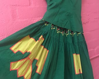 Vintage 1950s Squaw/Patio/Fiesta Thunderbird Skirt And Top Set