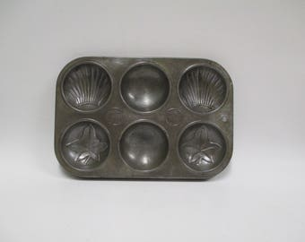 Vintage 6 Muffin Tin, Rare Minute Maid Metal Baking Pan, Rustic Cupcake Biscuit Bakeware, Shell & Leafs Pattern, Antique Farmhouse Décor