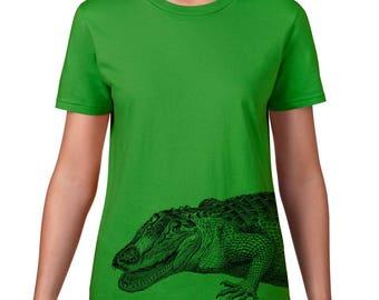 Women's Crocodile Tshirt, Crocodile Tee, Australian Animal, Crocodile T Shirt, Ringspun Cotton
