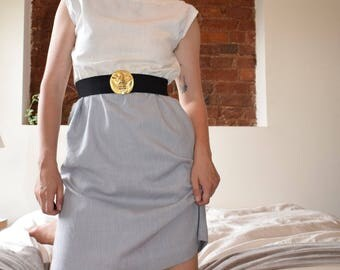 Slate and White Colorblock Dress