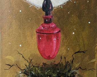 Behind the color (Original painting, acrylic on canvas panel, 5x7 inches)