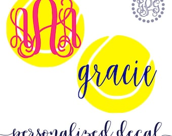 Tennis Monogram Decal, Sports Decals, Tennis Gifts for Women, Tennis Mom Decal, Personalized Tennis Ball Decal, Glitter Monogram Tennis