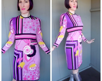 Designer Vintage 1960's Geometric Abstract Floral Empire Waist Shift Dress by Paganne - size Small Medium