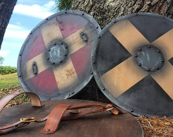 "18"" wood painted Viking Shield"