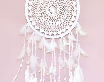 Crochet Dream Catcher Large, Cream Cotton Crochet, Gift Idea - 25cm - Code: A002