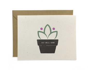 NEW | Illustrated Get Well Soon Card, Recycled Card, Get Well Card, Flower Card, Potted Plant Card