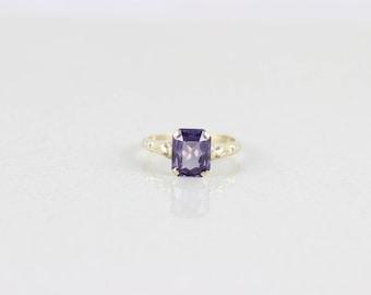 10k Yellow Gold Purple Sapphire Ring Size 8 1/2