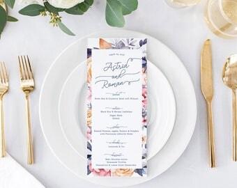 Floral Wedding Menus - Summer Wedding Menus - Printable or Printed Wedding Menu Cards