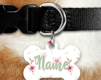 Spring Blossoms Pet ID Tag, Floral, Pink Flowers Pet ID, Flowers Identification Tag, Girl Dog, Summer Flowers, Pretty Flowers, Personalized