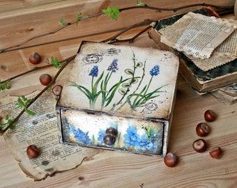 Trinket box, wooden storage box, Handmade, vintage style box, jewelry box,Candy box