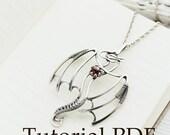 Silversmith necklace tutorial - Silver Dragon pendant - Silver soldering - PDF file - cabochon setting - Tutorial jewelry DIY project