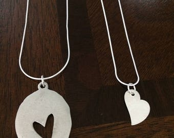 Mother/Daughter Heart Necklace SET