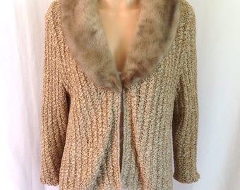 1960's Crocheted Ribbon Jacket w/ Mink Collar Sz. M/L