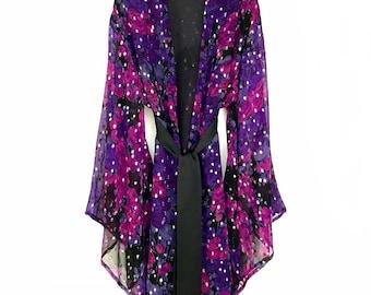 Silk kimono robe, kimono robe, silk kimono jacket, silk robe, floral silk robe, chiffon kimono, full length kimono, purple silk kimono