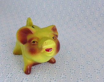 Vintage Coin Bank, Cast Metal Piggy Bank, Yellow and Burgundy