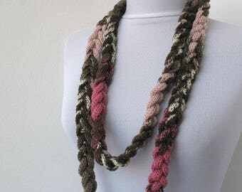 Knitted jewelry, Knit Scarflette Necklace,Braided Necklace, in brown, pink, rose, taupe, ivory E235