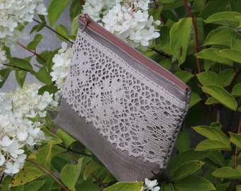 Linen Cosmetic Bag Decorated with Linen Lace - Beautiful Gift for a Woman