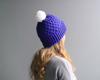 "READY to SHIP - Wool & Acrylic Hat / Big Yarn Pom Pom / Slouchy Beanie / Violet- White ""Beehive"" Hat"