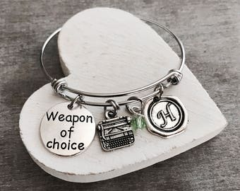 WEAPON OF CHOICE, Vintage, Typewriter Bracelet, typewriter charm, author Bracelet, gift for writer, Silver Plated Charm Bracelet,Gift