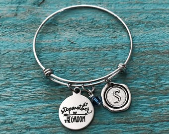 Stepmother of the Groom, Stepmother of Groom, Silver Jewelry, Bridal party, Silver Bracelet, Charm Bracelet, Customized, Personalized, Gifts