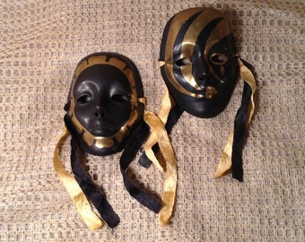 Set of 2 Solid Brass Decorative Masks - Made in India - Black & Gold Masquerade, Theater Hanging Face Mask - Carnival or Joker Mask