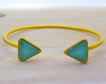 Turquoise Bangle Bracelet, Triangle Cuff Bracelet, Open Cuff Bracelet, Gold Bracelet, Geometric Jewelry, Statement Bracelet, Greek Bracele