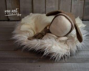 Felted brown vintage style rabbit bonnet
