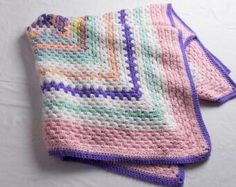 Vintage Crochet Baby Blanket, Granny Square Crochet Lap Robe