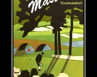 "Masters Golf Tournament Poster Augusta National Golf Club Wall Decor, Golfer Illustration Wall Art, 8x10""- 11x14"", Free Ship"