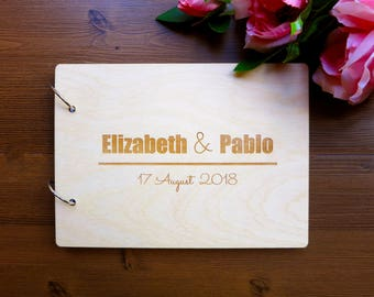 Personalized Wedding Book, Custom Wedding Guest Book, Unique Wedding Guest Book, Wood Wedding Album, Gift for Couple, babyshower book