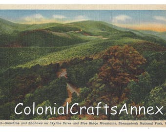 Vintage Postcard - Sunshine and Shadows on Skyline Drive and Blue Ridge Mountains - Shenandoah National Park - Virginia - Linen  OBH664 833