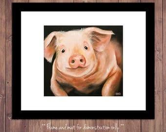 Pig Art Print from Original Oil Painting, Farm Art, Farm Decor, Pig Art, Pig Wall Art