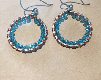 Hammered Steel Hoop Earrings with Blue Crystals Wrapped in Copper